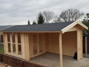 3.1m x 3.1m Bespoke Log Cabin With Canopy