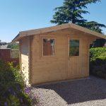 3.1m x 3.1m Apex Front Log Cabin Single Door Single Window