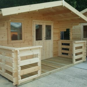 4m x 4m Apex Front Garden Log Cabins With Veranda