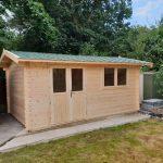 5m x 3.1m Apex Side Log Cabin Double Door Half Glazed, Double Window