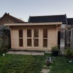 4.5m x 2.7m pent log cabin with full glazed front set, roof and floor insulation